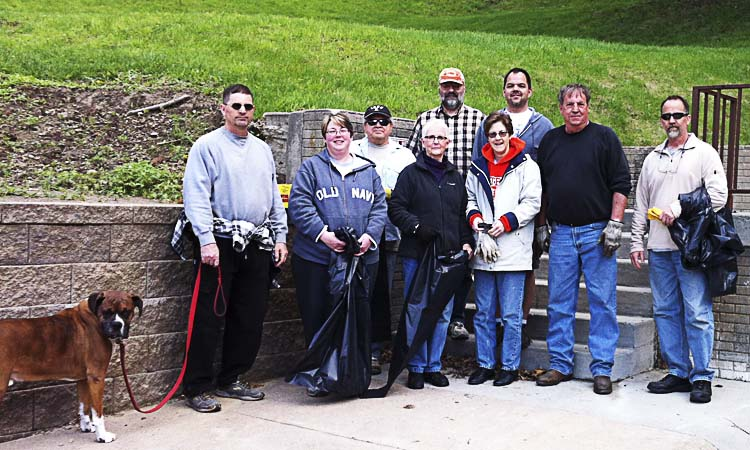 2014 Clean Sweep crew for FPNA: from left- John Huggins (with his dog), Cindy Muschall, Robert Hoag, Sharon Babbitt, Karl Allen, Terri Dowell, Kyle Muschall, Mike Ring, Dave Huggins. Linda Ring is taking the photo.