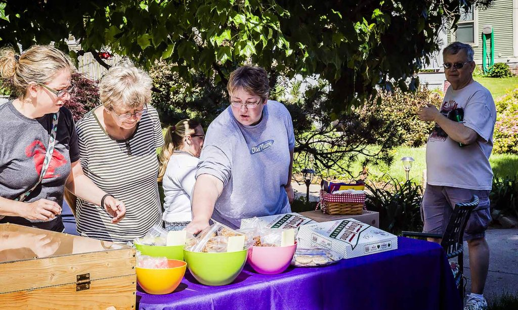 Cindy Muschall heads up the Bake Sale (332 Glen Avenue) while Wayne Anderson and Michelle Mutchler-Burns help out. Gotta love those scrumptious treats and beverages
